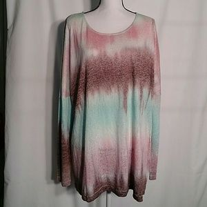 Umgee multicolor tunic high low long sleeve large